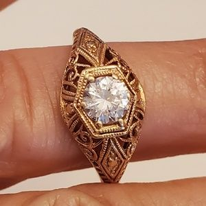 14k rose gold diamonique ring from QVC early offer